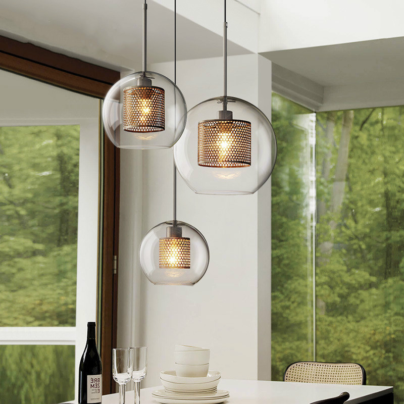 цена на Modern minimalist Nordic style stairs fixture home decorative lighting lamps glass ball single headlamp