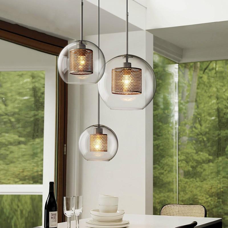 Modern minimalist glass ball single head pendant lamp Nordic style stairs fixture hollow iron home decoration LED E27 lighting