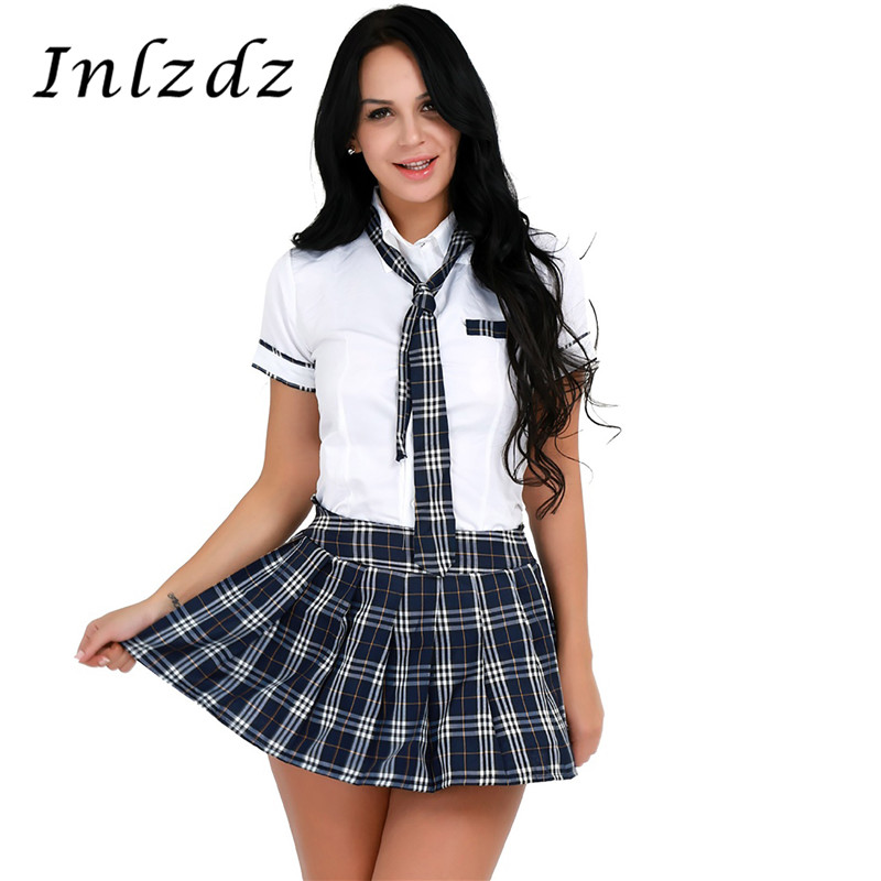 Women Girls School Uniform Suit   Japan School Student Class Cosplay Clothing Short Sleeve Shirt With Plaid Skirt And Tie Set