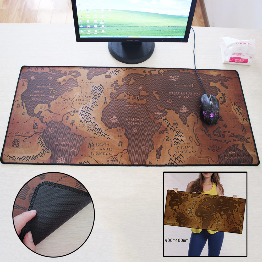 2017 hot sale 900x400mm old world map large mouse pad non-skid non-slip laptop table mat for computer gamer players