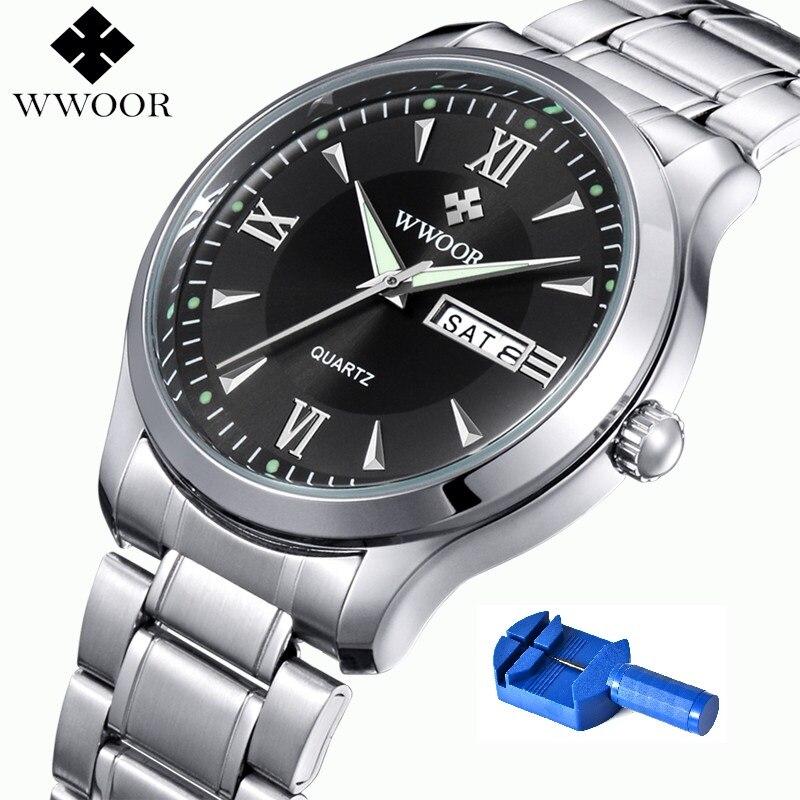 Brand WWOOR Watch Men 5ATM Waterproof Fashion Causal Quartz Watches Week Date Luminous Male Wristwatches New bayan kol saati