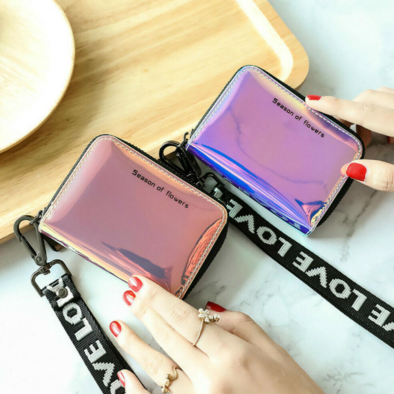 Wallet Holographic Purses Organiser Laser Faux-Leather Women Zipper Coin Fashion Short title=