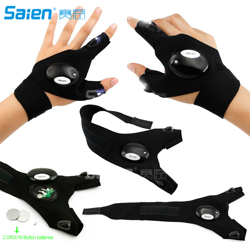 1Pcs Cycling Gloves Fishing Outdoor Magic Strap Fingerless LED Flashlight Torch