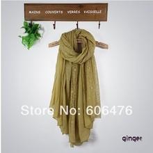 mu516 Hot Sale Two layers New Arrival Long Scarf Wrap Slub Yarn And Lace Wholesale Fashion Islamic Hijab