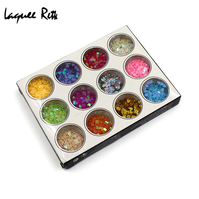 12 Color Fashion Heart Shaped Nail Art Acrylic Glitter Nail Art Tool ...