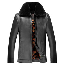 Winter Leather Jacket 2017 Men s Casual Fashion Jackets Lapel Black and Brown Zipper Faux Fur