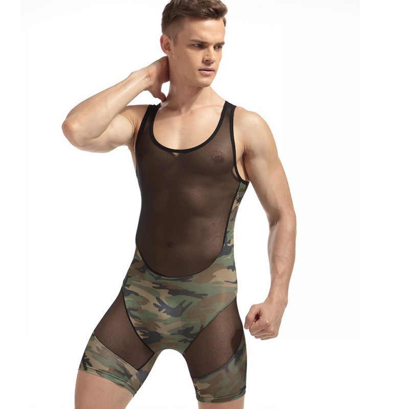 IYUNYI мужское сексуальное нижнее белье боди модный сексуальный мужской комбинезон борцовка нижнее белье Корректирующее камуфляжное ультра тонкий облегающий костюм