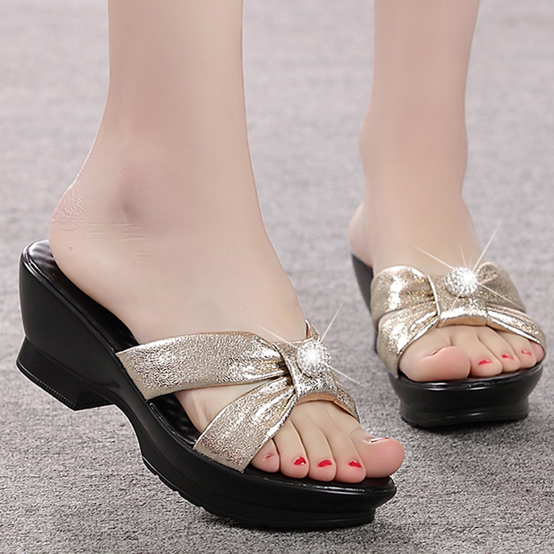 Summer women s shoes genuine leather slippers comfortable hight heel women sandals thick heels platform plus