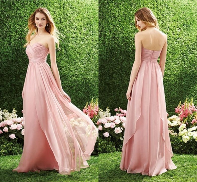 Free shipping pink long chiffon bridesmaid dresses 2015 Sexy sweetheart high quality elegant handmade A line party prom gown