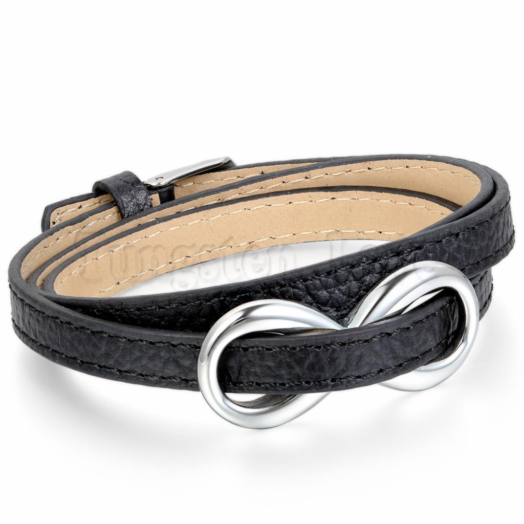 3524f72e472e De cuero para mujer Acero inoxidable pulsera amor infinito encanto  brazalete negro plata mejor amigo regalo pulseira masculina couro en Wrap  Pulseras de ...