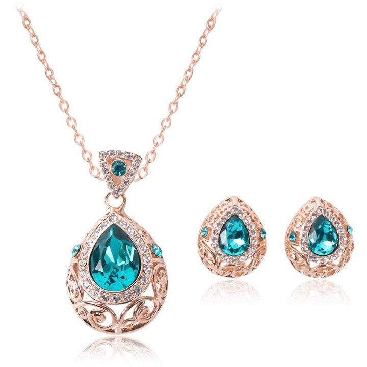 gold plated green color rhinestone classsic font b wedding b font font b jewelry b font