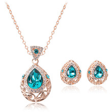 gold plated green color rhinestone classsic wedding jewelry sets for women fashion jewelry necklace and earrings good gift
