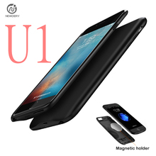 NEWDERY CN Ship U1! External TPU Backup Power bank Pack battery Charger Case Cover For iPhone 6 6S 7 Plus with Magnetic