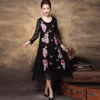 New 2018 Spring Middle Age Women Lace Long Dress Embroidery Rhinestone Party Dress Longos Vestido Plus