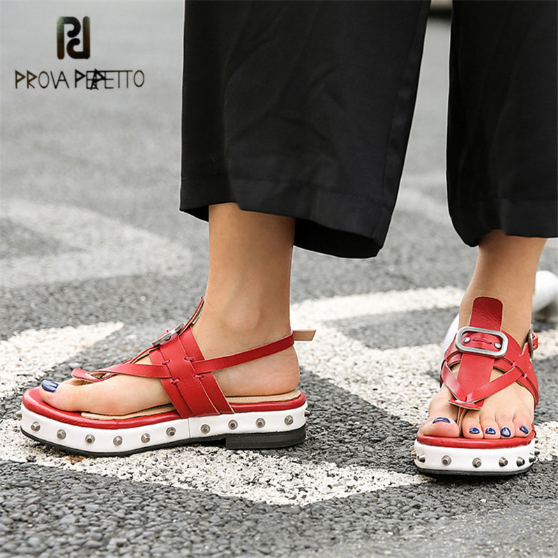 Prova Perfetto Sexy Red Women Sandals Summer Flip Flops Rivets Studded Flat Sandal Casual Beach Shoes Woman Platform Creepers 330w 1 52a fan dust exhaust electric blower inflatable model industry centrifugal blower air blower 150flj7 220v