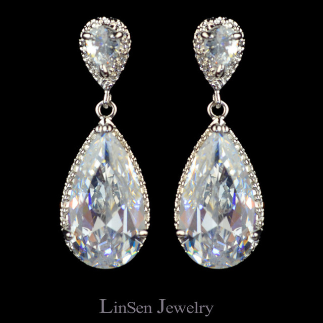 Cute Sparkling Water Drop Aaa Cubic Zirconia Earrings For Women High Quality Cz Fashion Jewelry