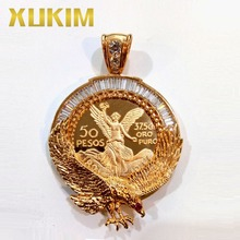 Xukim Jewelry Custom Pendant Eagle Wings Cubic Zirconia Gold Mexican Coin Necklace