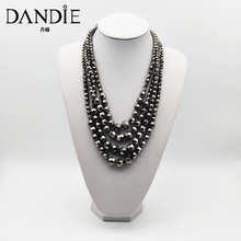 Dandie Metallic color multi-layer horn bead necklace, stylish, modern, simple feminine accessories