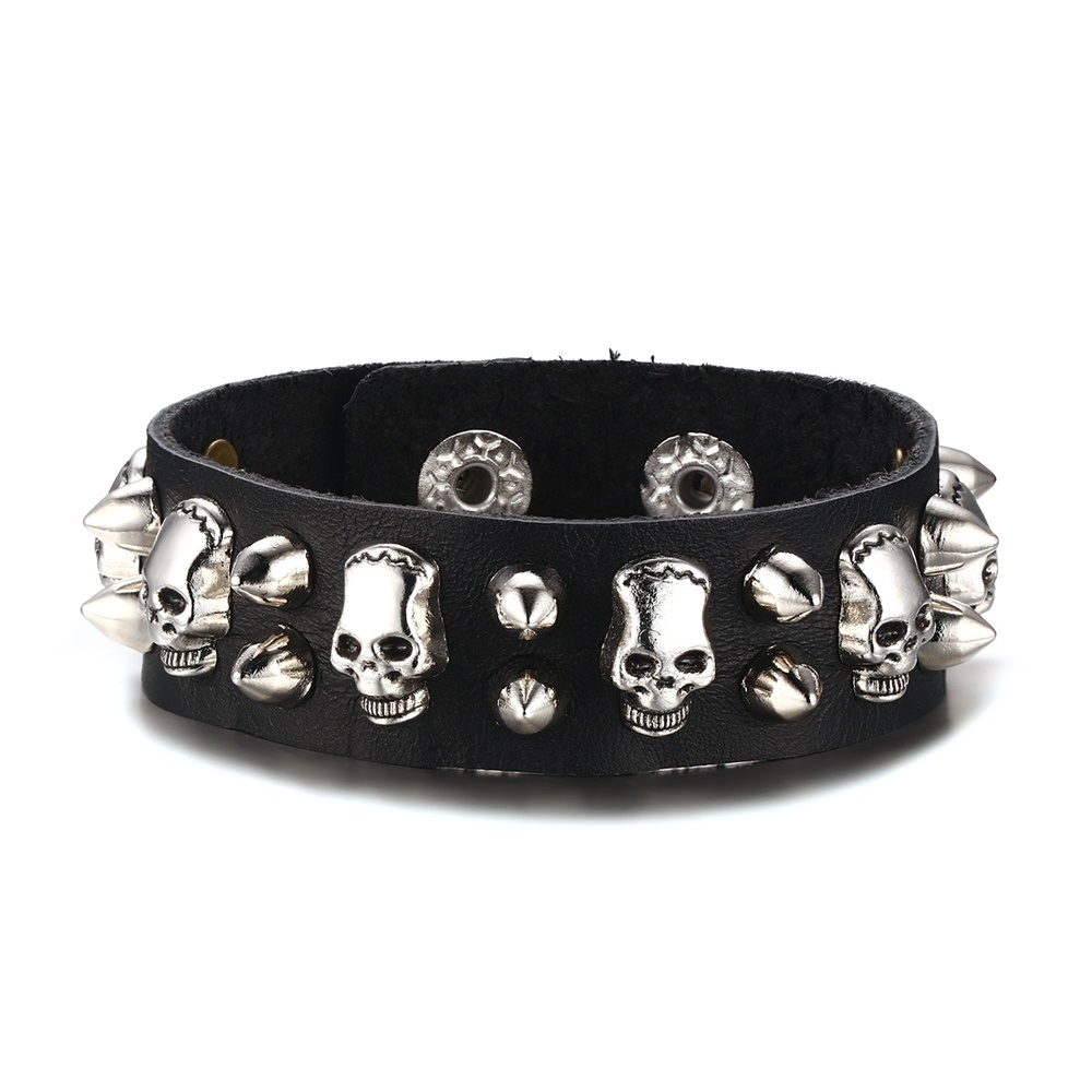 Mens Leather Bracelet Metallic Skull Spike Punk Rock Leather Cuff Bracelet  Men Belt Style Bangle Ajustable