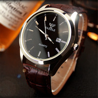 Yazole Quartz Watch Men High Grade Business Calendar Watch Leather Luminous Pointer Big Dial Mens Watches