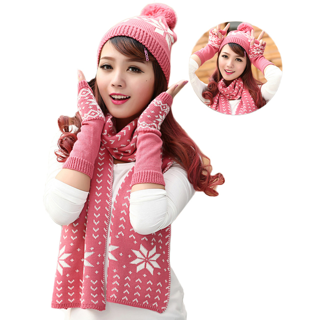 Woman Scarf Hat Glove Sets Winter Knitted Thicken Beanie Caps For Women Elegant Christmas Snowflake Pattern Gifts For Girls