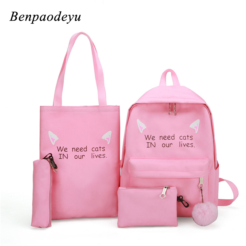 Children Bags Backpacks Canvas Shoulder Girls Kids Students Teenage Zipper Letter Printing
