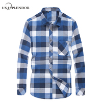 2017 Spring Autumn Plaid Men Shirt Male Long Sleeve Dress Shirts Plus Size Youth Office Business