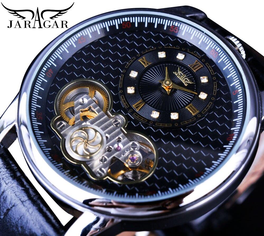 Jaragar Tourbillon Automatic Dual Movement Skeleton Rotate Gear Mechanical Quartz Black Leather Watches Mens High Quality Clock