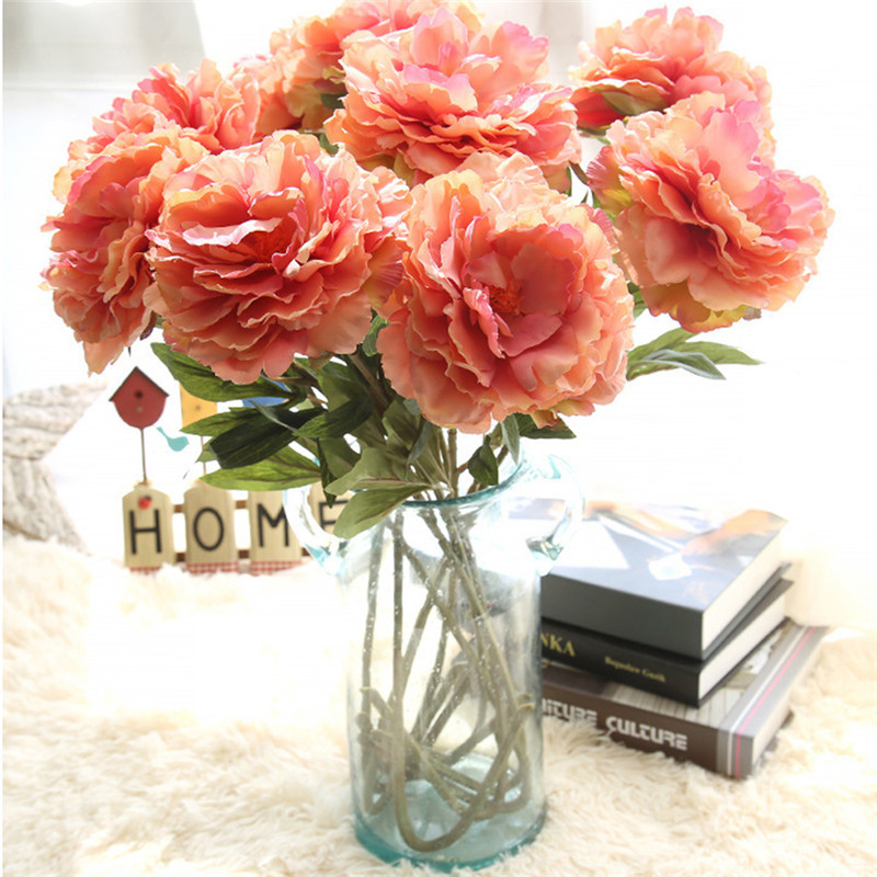 2 pcs artificial flowers silk fake simulation nordic big peony diy for home bridal wedding bouquet decorative flower home decor - Silk Arrangements For Home Decor 2