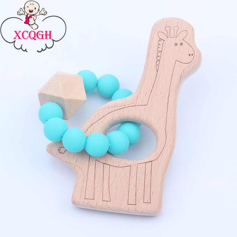 Xcqgh girafa bonito pingente de madeira silicone contas pulseira do bebê jóias dentição para o bebê mordedor de madeira orgânica