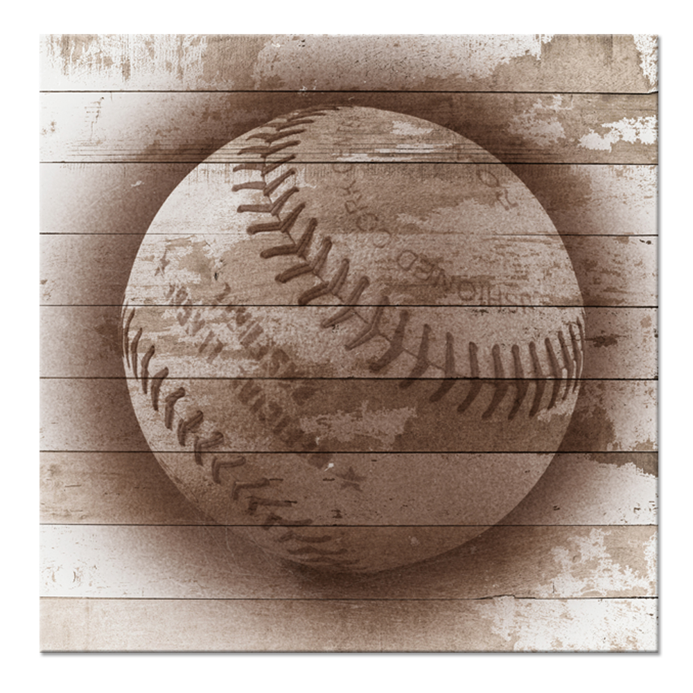 Vintage Photo Style Canvas Wall Art Old Baseball Ball Rustic Square Sport Panel American Sports Picture Print On Canvas 60x60cm