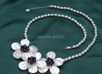Wedding Elegant Pretty Black Flowers Chokers Necklace Woman Jewelry Handmade Necklace AAA Natural Real Pearl Freshwater