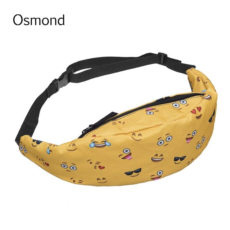 b130fc15e062 US $6.56 49% OFF|Osmond New Cute Waist Bag Women Sling Bag Small Waist  Packs Canvas Waterproof Cartoon Fanny Pack Printing Casual Bags Belt men-in  ...