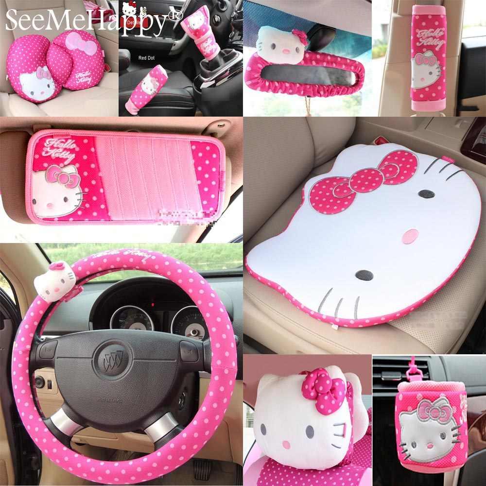 ピンク猫車スタイリングカーインテリアアクセサリー車のステアリングホイールカバーセーフティベルトハンドブレーキギアカバー
