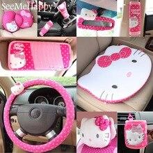 Hello kitty автомобиль-Стайлинг автомобиля интерьерные аксессуары hello kitty Автомобильный руль крышка пояс безопасности ручной тормоз крышка редукторов
