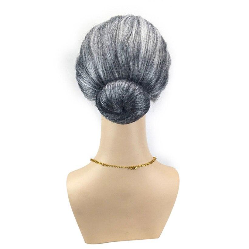 Old Lady Grandma Granny Grey Wig Bun Hair Grand Mother Fancy Dress Costume drop shipping 0922