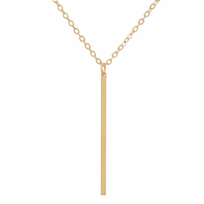 Simple Silver Gold สร้อยคอสร้อยคอผู้หญิงเสื้อกันหนาวแฟชั่นจี้สร้อยคอผู้หญิง 2019 เครื่องประดับ