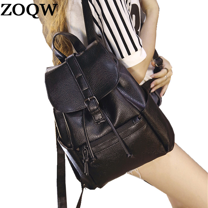 Woman Pu Leather Backpack Female School Bags For Teenagers Vintage Black Backpacks For Women Drawstring Bag Zoqw Wyq284