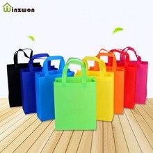10 adet DIY çocuklar doğum günü partisi iyilik hediye keseleri kolları ile ikram çantaları düz renk bez alışveriş çantası çok kullanımlı hediye Tote çanta