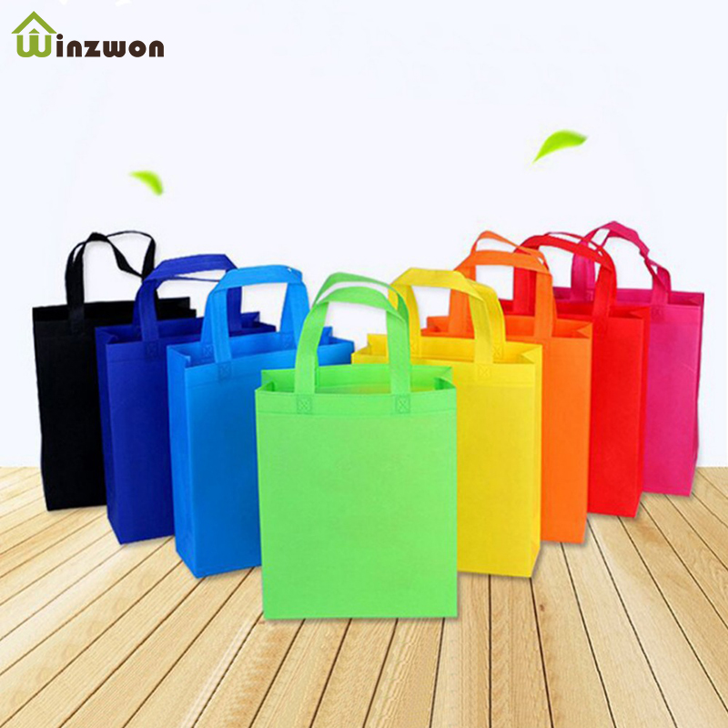 10 Pcs DIY Kids Birthday Party Favors Gift Bags With Handles Treat Bags Solid Color Cloth Shopping Bag Multi-use Gift Tote Bags