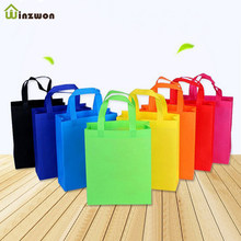 10 pcs DIY Kids Birthday Party favors gift bags with handles Treat Bags Solid Color cloth Shopping Bag Multi-use Gift Tote Bags(China)
