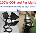 8xLot Led Par Light COB 100W High Power Aluminium Case with Barn door White DJ DMX Led Beam Wash Strobe Effect Stage Lighting