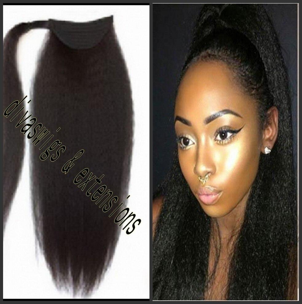 African American Kinky Straight Human Hair Ponytail