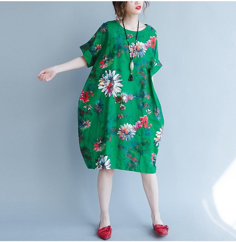BelineRosa 2017 Big Sizes Women Clothing Bohemian Style Chinese Style Floral Printing Cotton Linen Dress 4XL 5XL HS000264 17