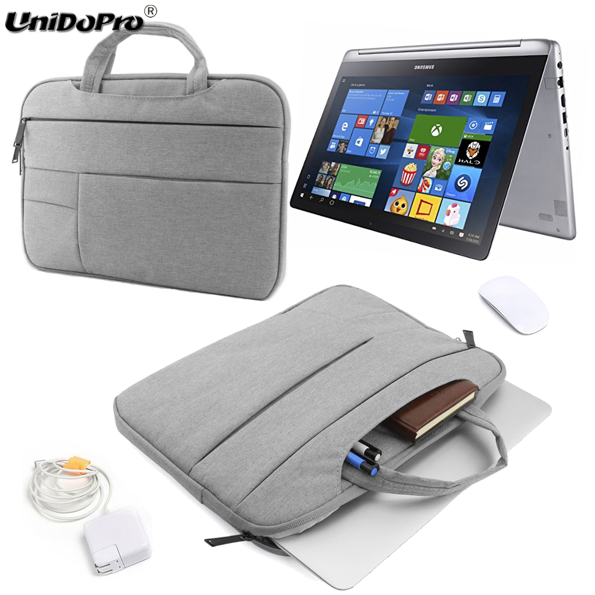 UNIDOPRO 11.6 12 13 13.3 14 15 Laptop Sleeve Handbag for Samsung Chromebook Plus Convertible Notebook Bag XE513C24-K01US Case