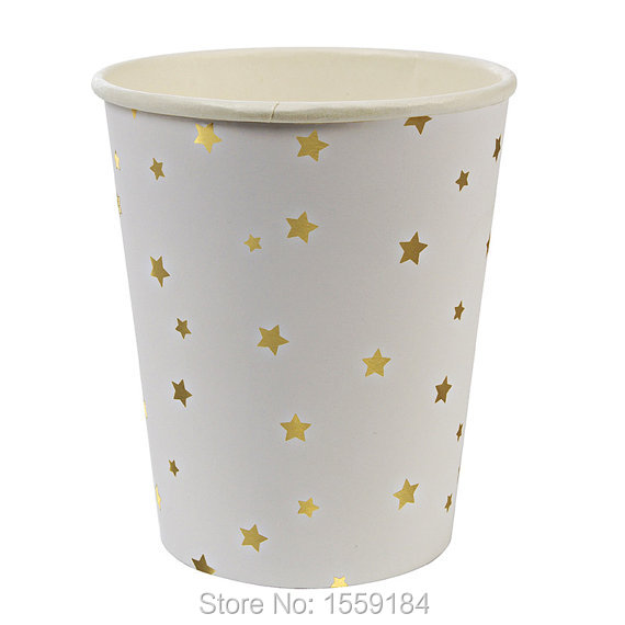 16PCS Foil Gold/Silver Star Paper Cup Party Candy Bottle Outdoor Camping Picnic Drink ware Family Party Catering Tumblers Cups