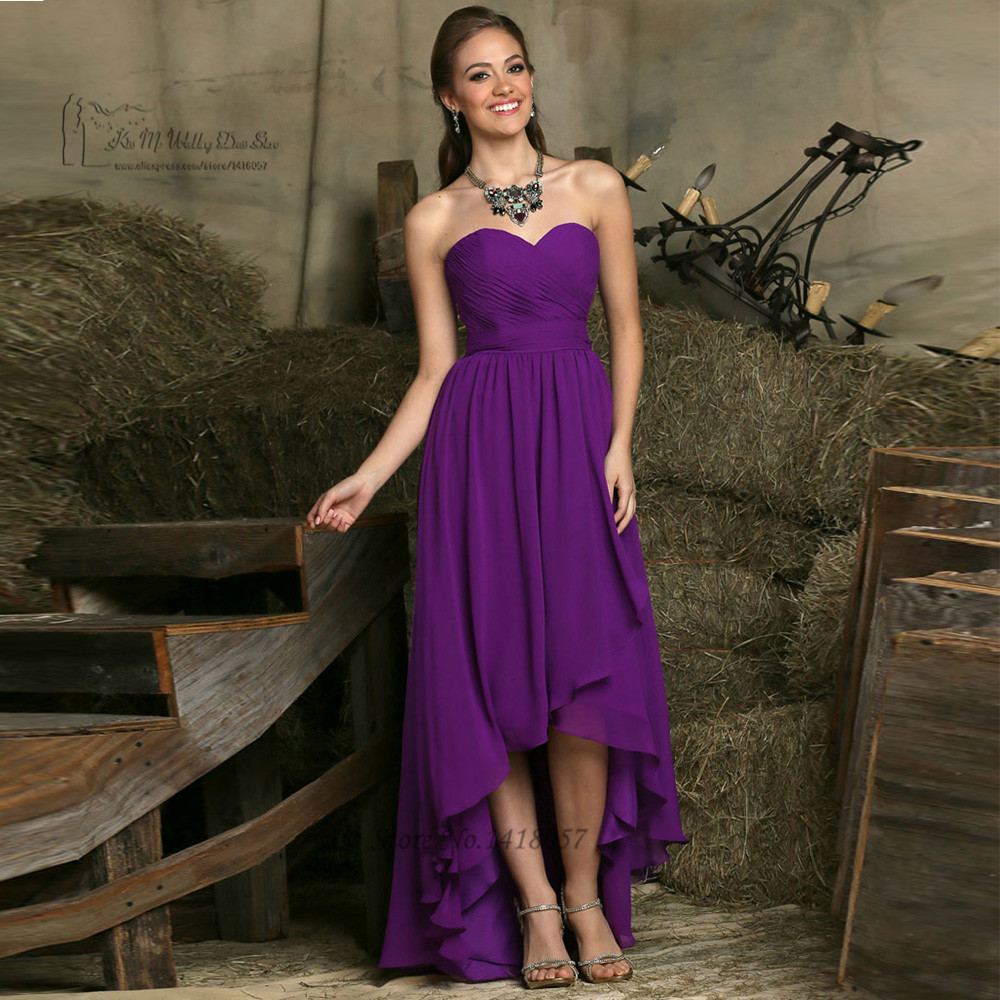 High Low Purple   Bridesmaid     Dresses   Chiffon Pleated Robe Demoiselle D'honneur Custom Made Wedding Party   Dress   Gowns Sweetheart