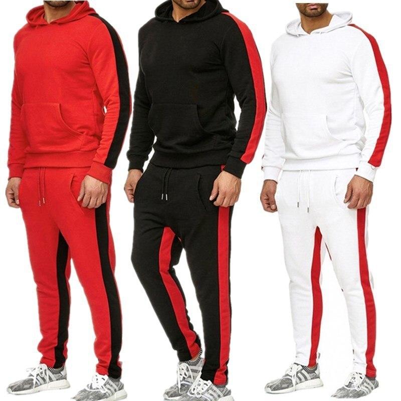 2 Pieces Sets Tracksuit Men New Brand Spring Autumn Hooded Sweatshirt +Drawstring Pants Male Stripe Patchwork Hoodies 2019