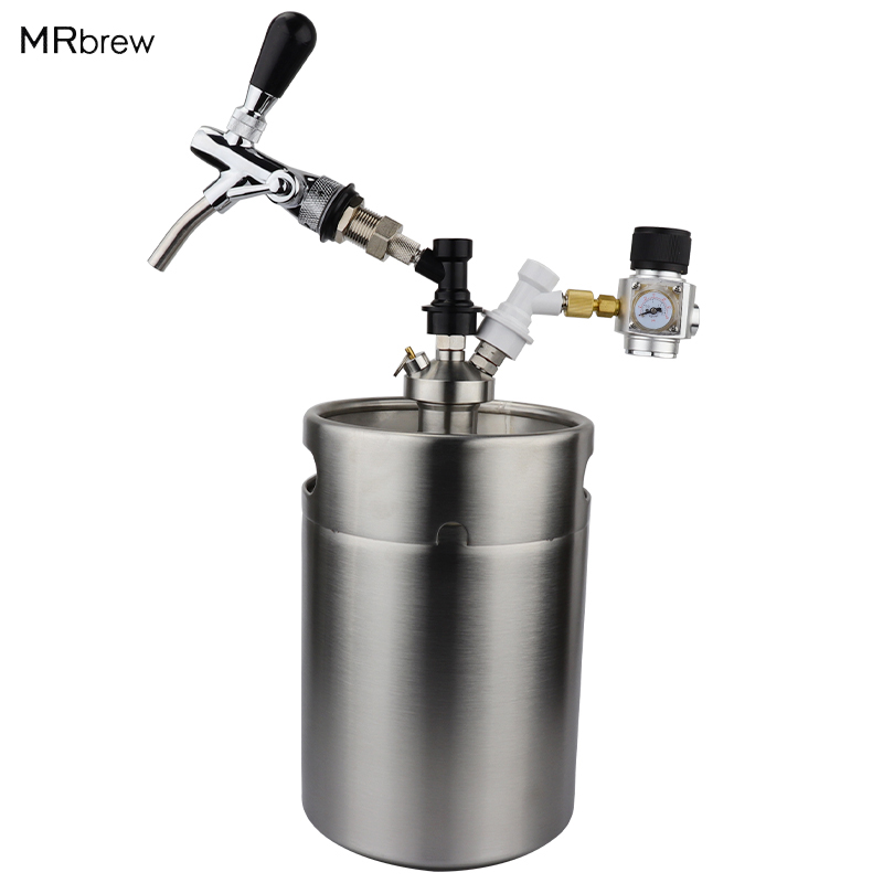 Mini Growler Dispenser CO2 Regulator for Draft Beer Keg w// 2 Ft Hose and Spout