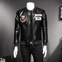 High Quality Faux Leather Jacket Men Korean Slim Fit 2018 New Bomber Jackets Men Stand Collar Patch Design Windbreaker Coat Mens